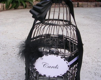 Birdcage Card Holder in Elegant Black & White Tones