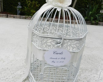 Birdcage Cardholder in an Elegant White Finish with Hand Made Flowers