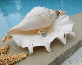 Shell Ring Bearer Pillow Alternative - Seaside, Beach or Nautical Wedding Theme