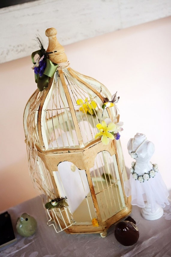 Bird cage Wedding Card Holder- Vintage or Shabby Chic Wedding Gift Card Birdcage 16 inches tall