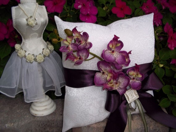 Ring Bearer pillow with Cascading Orchids, Ribbons and a Personalized Rhinestone initial