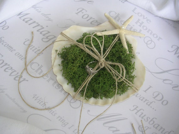 Seaside, Beach or Nautical Wedding Seashell Ring Bearer Pillow