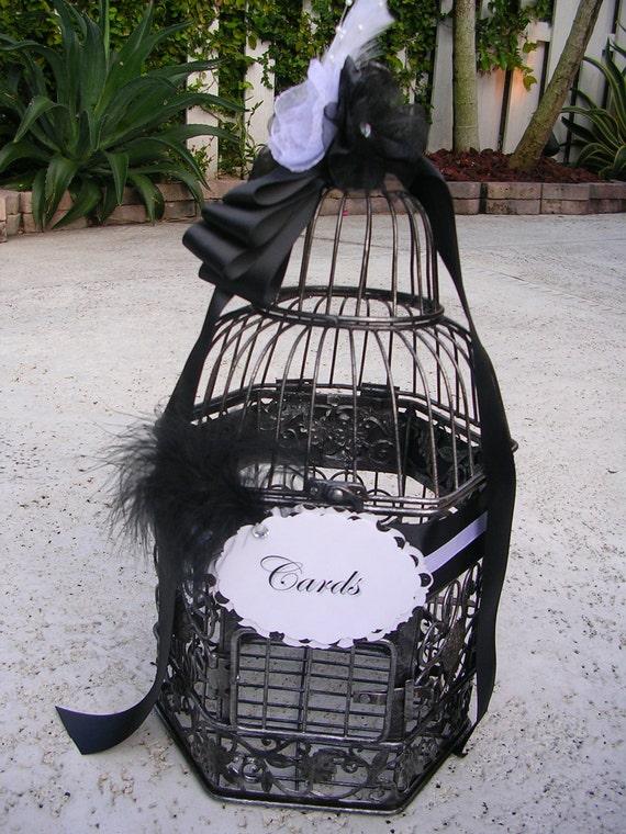 Birdcage Card Holder in Elegant Black & White Tones
