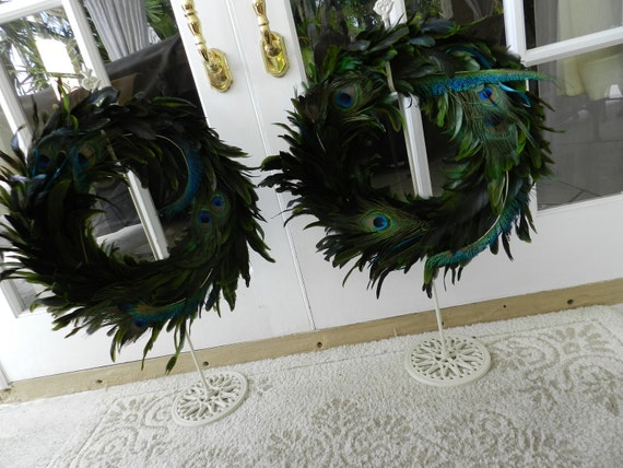 SPECIAL LISTING for Kim Manci -set of Peacock Feather Wreath