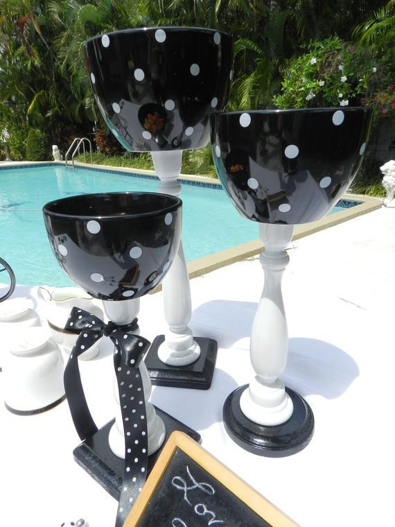 Pedestal Apothecary Jars-Bowls -Candy Station - Set of 3 Candy Bowls