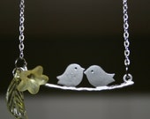Two Sweet Birds Necklace --free shipping--