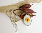 Embroidered Necklace - Summer Flower - Sunflower Embroidery Pendant on Natural Linen - Bright Yellow Orange with Brown Center