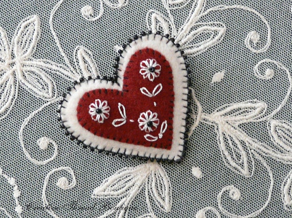 Beaded Embroidered Felt Heart Brooch Lapel Pin - Mother's Day - Valentines - Handmade - Dark Red Cranberry - Creamy White - Black Beads