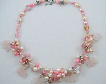 Pink Cluster Bears pearl crystal western