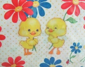 Vintage Hallmark Childrens Baby Ducks Flower Power Wrapping Paper 2 Sheets