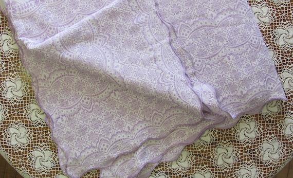 Vintage Woven Lavender Reversible Bed Linen Coverlet Cutter Piece