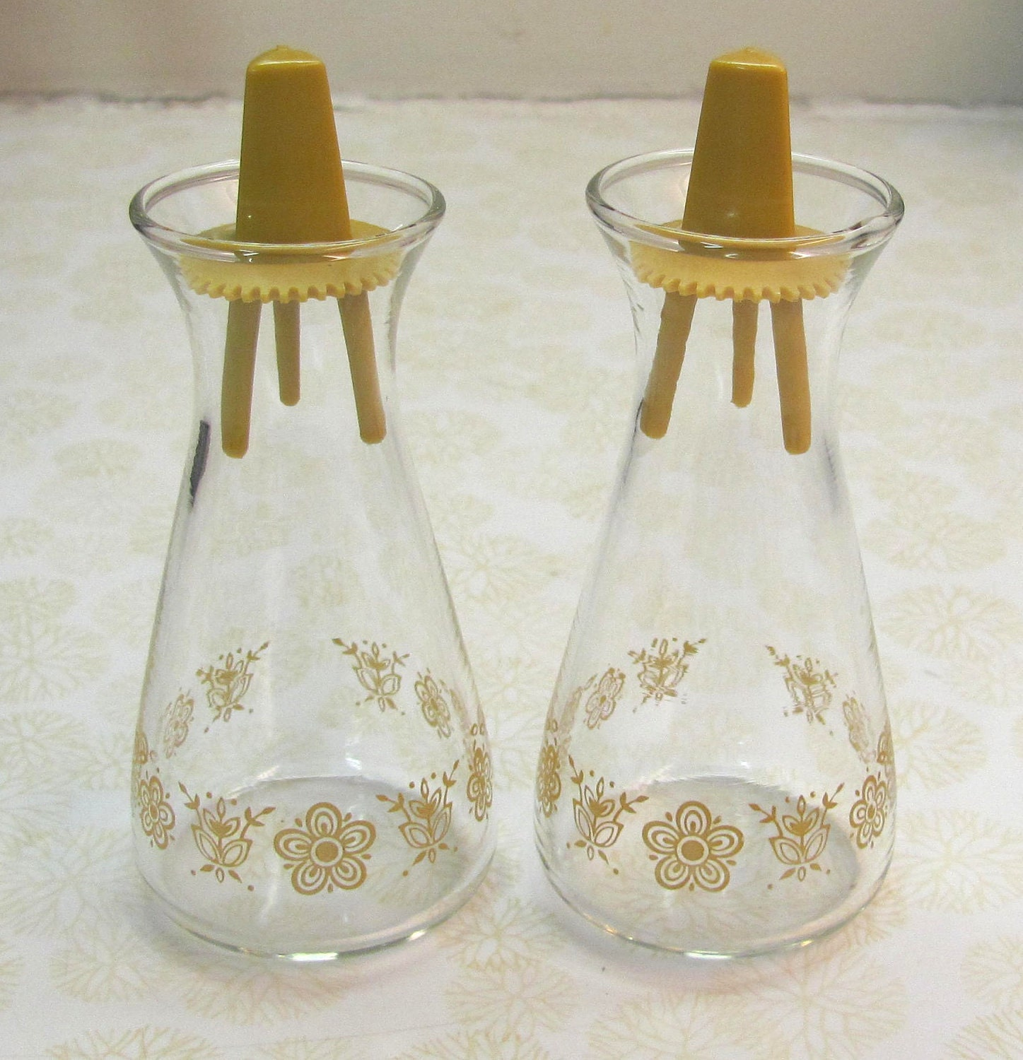 Vintage Butterfly Gold Pyrex Corelle Salt And Pepper Shakers