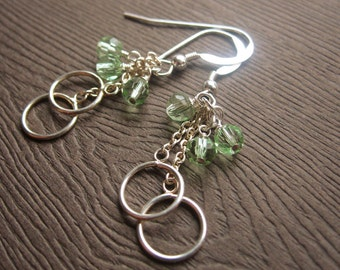 Sterling Silver and Light Green Crystal Earrings