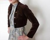 brown velvet bolero jacket