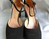 black suede ankle-strap heels