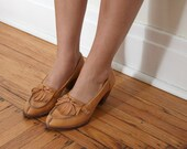 tan leather fringed loafer