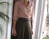 pleated wool skirt in dark khaki wool