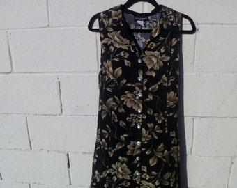Vintage Floor-Length Floral Button-Down 90's Dress by Impressions Workshop Size Large