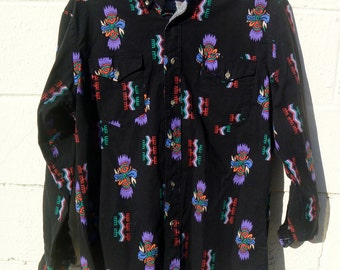 "Vintage 90's Wrangler Pacific Northwest Aleutian Kwakiutl Indians Print Black Button Down 16"" 33"""
