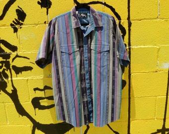 Radical Wear Vintage 90's Navajo Futuristic Striped Eye Dazzler Print Short-Sleeve Western Shirt by Roper Men's XL