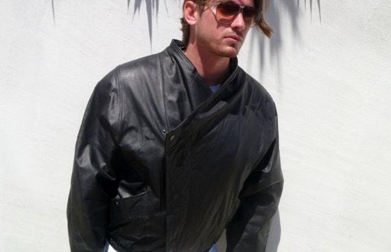 Vintage 1980's Tip Top of California Black Leather Jacket w Wrap-Around Nehru Collar Men's L/XL
