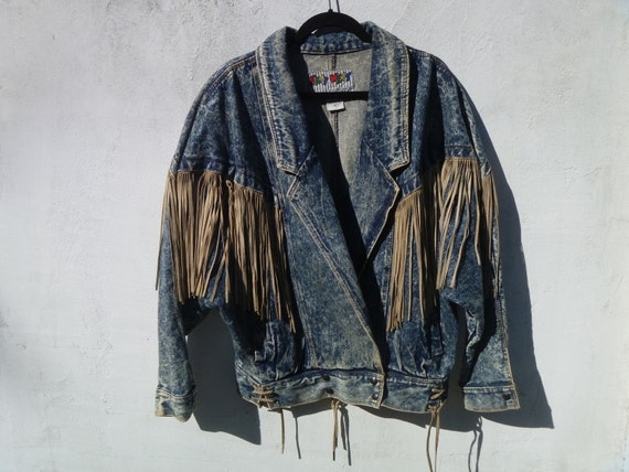 Vintage 1980's Acid-Washed Jacket by East West with Suede Leather Warrior Fringe and Silver Conchos Men's Medium