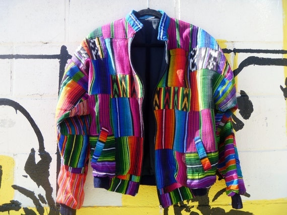 Vintage Native American Eye Dazzler Print Navajo Weaving Bomber Jacket Men's Size Large
