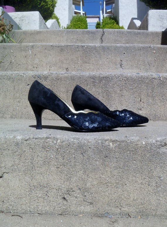 Vintage 1980's High Lights Black Sequined Heels Women's Shoe Size 6