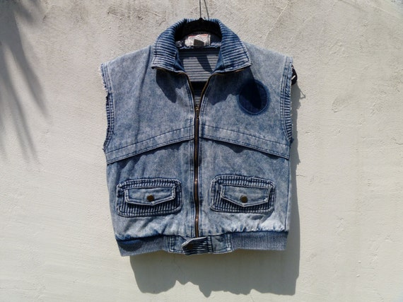 Vintage 90's Cropped Acid-Washed Denim Cut-Off Jean Jacket into Vest with Ribbed Detail by Commando Women's Large Men's Small