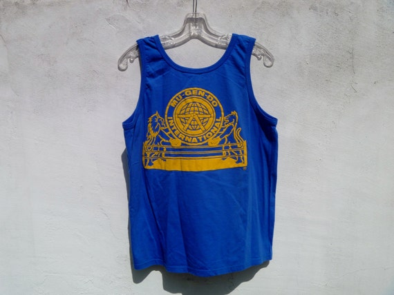 Vintage 80's Graphic Tank Top Mu-Gen-Do International Karate Blue and Yellow with Raised Graphic