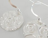 DIZZY - Modern Spiral Circle Drop Earrings in Fine Silver