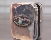 Charming OLD Vintage Signed Mexican Pill Box Turquoise Stone 1930s-1940s