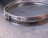 CLEARANCE Vintage Mexican Silver Bracelet Sterling Bangle Mexico Brushed Matte Frosted Etched Engraved