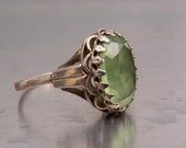 Antique Ring Vintage Glass Peridot Green Stone Sterling Silver Size 7 Victorian Art Nouveau Style August Birthstone