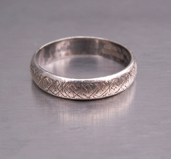 Italian Bands: Vintage Ring Sterling Italian LEGI Wedding Band Italy Size 5
