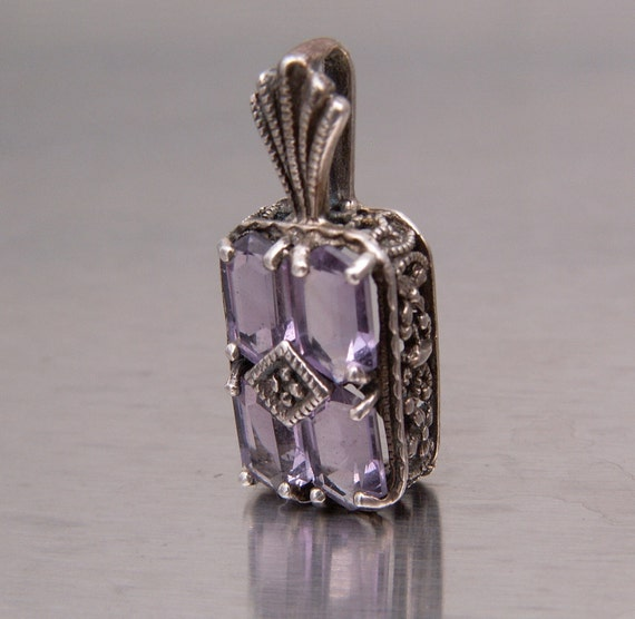 Vintage Pendant Sterling Silver Purple Amethyst Nouveau Deco Necklace