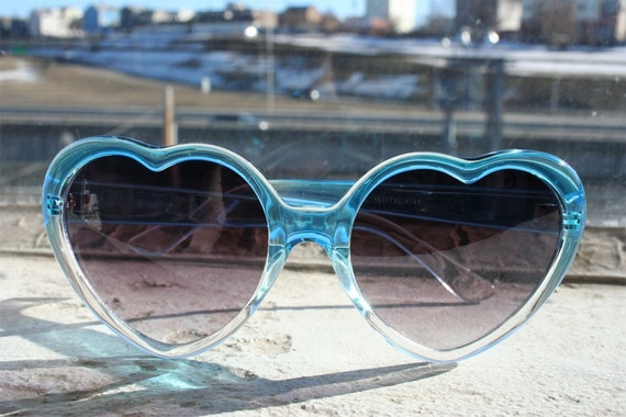 Vintage Blue and Clear Heart Shape Sunglasses