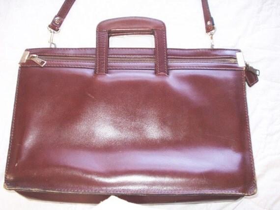 Vintage Leather Briefcase Attache Satchel Laptop Computer Office Bag 80s Eighties