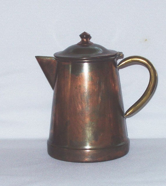 Vintage Coffee Pot Copper Brass Tagus Portugal R 97 Stove Top