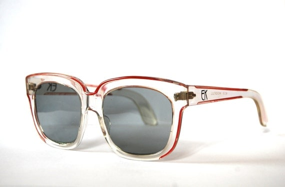 Retro oversized transparent red sunglasses by Emmanuelle Khahn