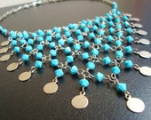 Turquoise Swarovski Beads and Disc Fun Necklace