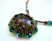 Cabochon Pendant Necklace, Herringbone Stitch Beaded Dark Emerald Cabochon Pendant Necklace