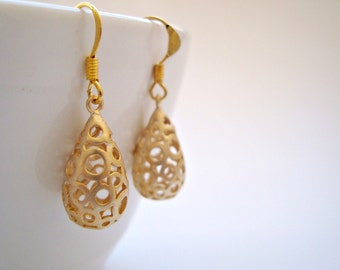 Bubble Drop Earrings, Bubble Earrings, Matte Rhodium Plated Intaglio Drop Pendant on French Earrings-Also Available in Silver, Gold Jewel