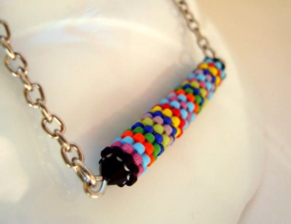 Spring Fashion, Colorful Peyote Tube on Silver Plated Metal Chain