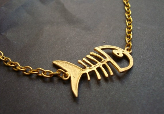 Gold Coated Fishbone Necklace ,Gold Plate Fish Necklace, Simple Jewelry