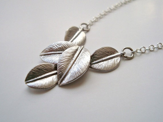 Five Leaves Necklace, Silver Leaf Necklace - Also Available in Gold, Fall Leaves Jewelry, Wedding Gift, Leaves Bridal Party Jewelry