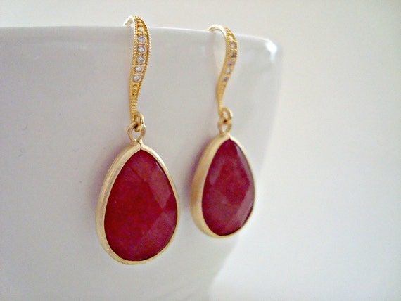 CZ Ruby Red Earrings, Cubic Zirconia Ear wires - Red Ruby Glass Stone Gold Earrings, Bridesmaid Earrings, Wedding Jewelry, Mothers Day Gift