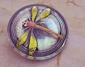 Czech Glass Button Iridescent Green with Painted Dragonfly 31 mm