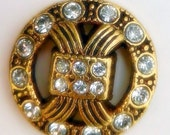 "JHB Button Versailles Gold with Crystal Rhinestones 7/8"" Sewing Knitting Crochet Crafts"