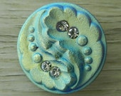 Blue Czech Glass Buttons Abstract Rhinestone Leaf Fronds